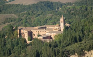 Sample fine wines produced by the monks of the abbey of Monte Oliveto Maggiore