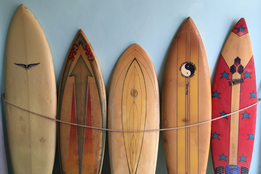Wooden surfboard  _: Decoration of Imanta hotel in Mexico